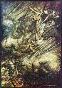 Arthur Rackham's illustration to The Ride of the Valkyries