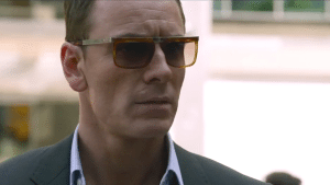 Fassbender vaguely worried, his one job in this movie