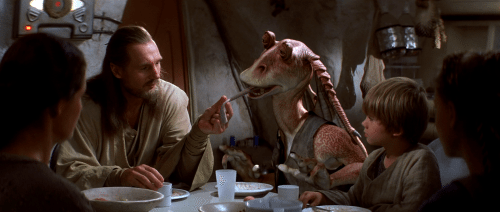 Jar Jar, moments before swallowing Liam Neeson's head